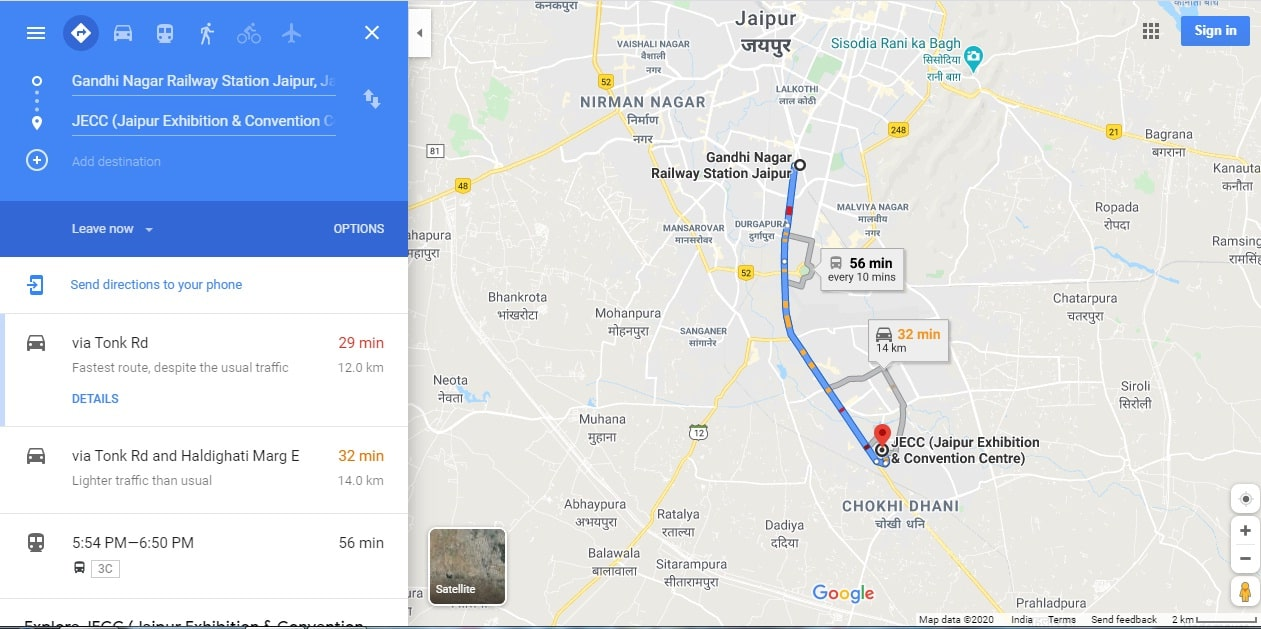gandhinagar-railway-station-to-jecc-sitapura